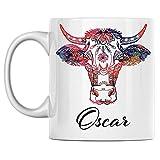 Taza de café de cerámica blanca con nombre Oscar impreso en ambos lados, perfecta para cumpleaños, para él, ella, niño, niña, marido, esposa, hombres y mujeres