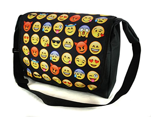 Umhängetasche Schultasche Schultertasche Messenger Laptop Bag Emoji Black [052]