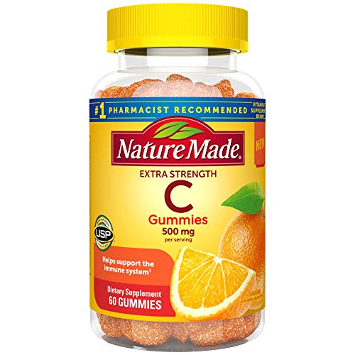 Nature Made Extra Strength Vitamin C Gummies 500mg, for Immune Support, Antioxidant Support, Tangerine, 60 Count