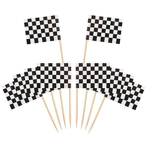 Banderas con Palillos,Toothpick Flags 100 Piezas Bambú Mini Cuadros de Carreras Banderas para Pastel de Fiesta Comida Plato de Queso Aperitivos