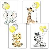 Frechdax® Poster Kinderzimmer Deko Grau Bilder Babyzimmer Safari Dschungel Tierposter Luftballon (gelb Luftballons)
