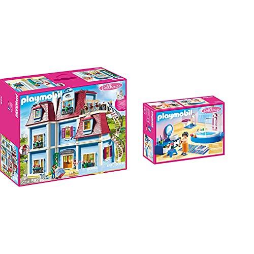 PLAYMOBIL Dollhouse 70205 Mein Großes Puppenhaus, Mit funktionsfähiger Türklingel, Ab 4 Jahren & Dollhouse 70211 Badezimmer, ab 4 Jahren