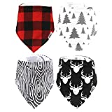 Stadela Baby Adjustable Bandana Drool Bibs for Drooling and Teething Nursery Burp Cloths 4 Pack Baby Shower Gift Set for Boys – Lumberjack Deer Animal Woodland Forest Wood Trees Buffalo Plaid