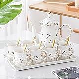 HRHQ vajilla de cerámica Tetera Tetera Taza de café con bandeja de té de té para dormir Regalo de boda de regalo-blanco