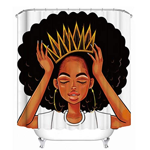 Duschvorhang Afro African Girl Queen Princess Badvorhänge Afroamerikanische Frauen mit Krone-B150cmxH180cm