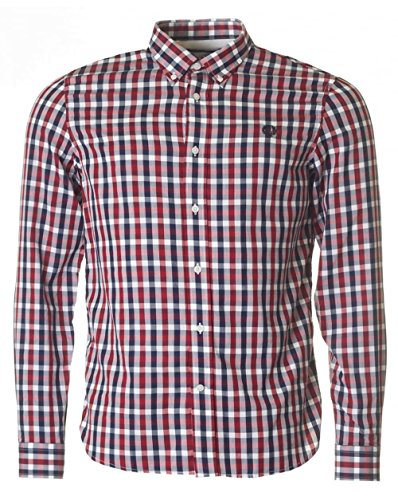 Fred Perry Authentics Herringbone Long Sleeved Checked Shirt RED MEDIUM