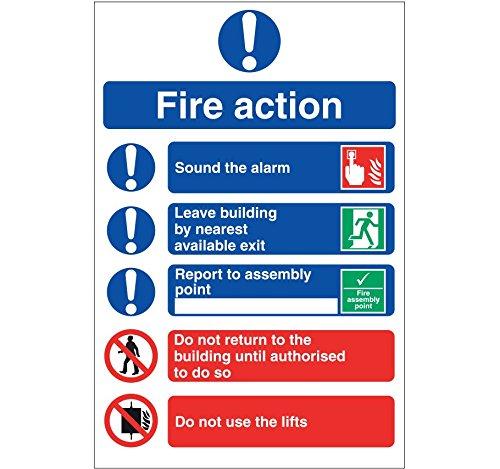 Fire Action Sign, rigido, 20x 30cm