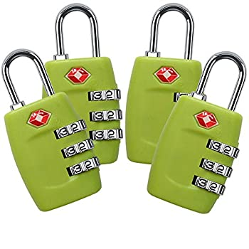 TSA Lock 4 Pack,TSA Approved Luggage Lock,3 Digit Small Combination Padlock for Travel Suitcase  Green