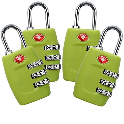 TSA Lock - Candado para Maletas de Viaje (4 Unidades, certificación TSA, 3 dígitos, combinación pequeña)