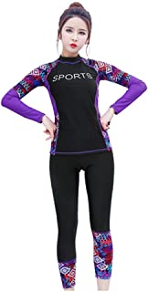 2Pcs Women's Long Sleeve UV Sun Protection Swimsuits Outdoor Rash Guard Surfing Floral Swimwear