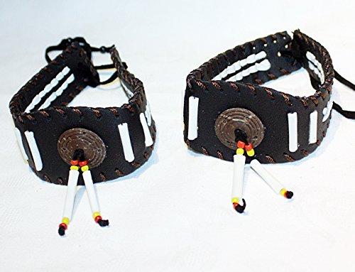 Hejoka-Shop 2 x Indianer Oberarmband Armband Paar Bänder echtes Leder Bone Perlen