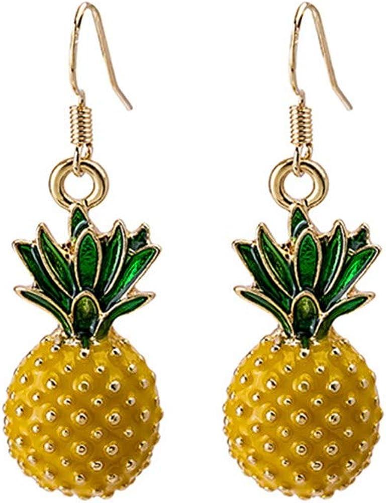 3D Fruit Yellow Pineapple Drop Charm Tassel Dangling Earring 18K Gold Plated stereoscopic Big Pineapple Dangle Earrings