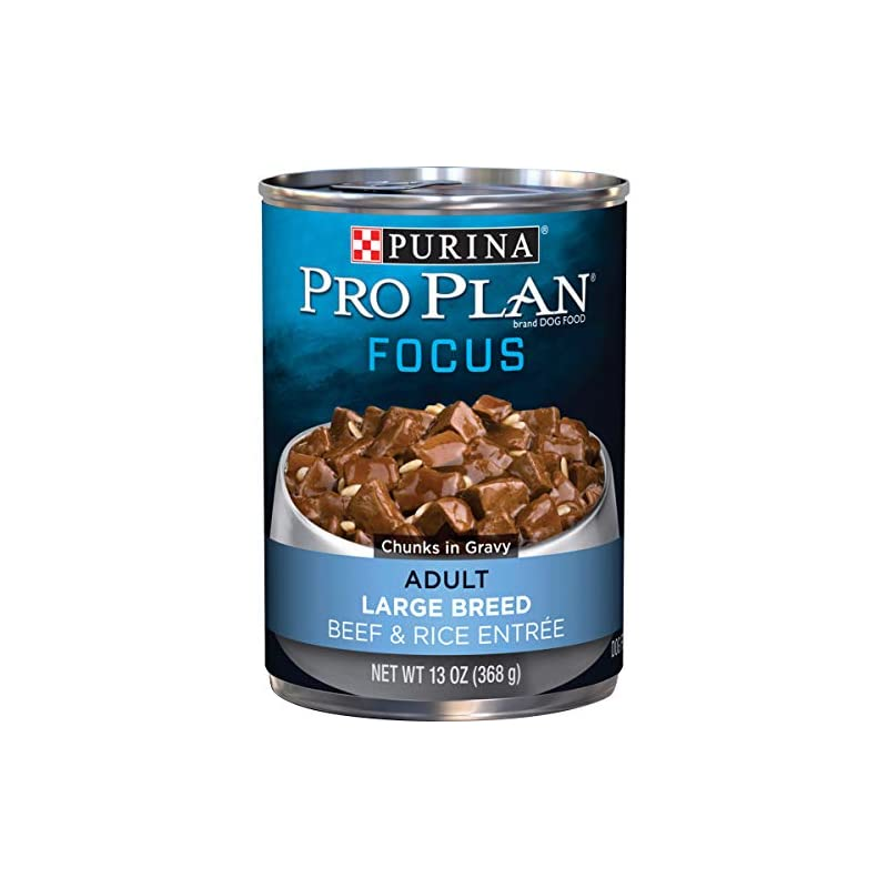 dog supplies online purina pro plan large breed gravy wet dog food, focus beef & rice entree - (12) 13 oz. cans