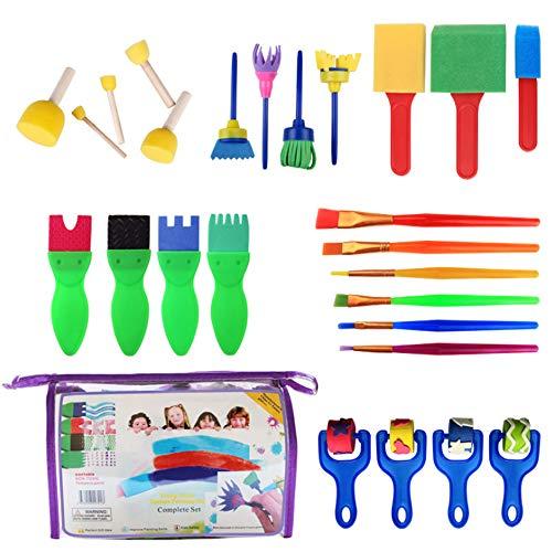 yyuezhi La Primera Infancia Herramientas de Dibujo 26 Esponja Kit de la Pintura del Cepillo de Esponja DIY Crafts Molde Pincel de Pintura Educación Infantil para los Niños Amantes de Arte Creativo