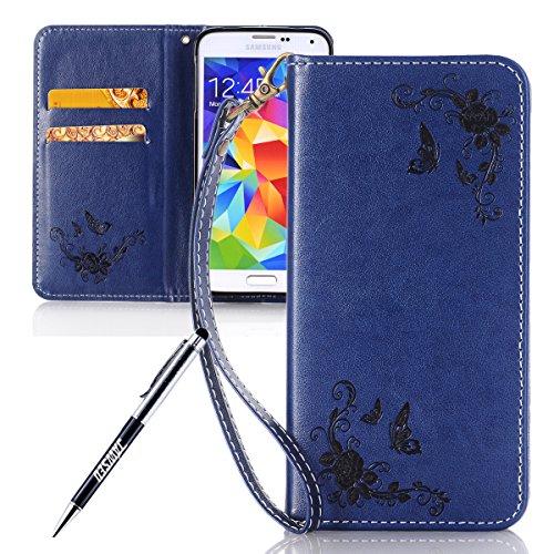 JAWSEU Coque Galaxy S5,Etui Galaxy S5 Portefeuille PU Étui Folio Cuir à Rabat Magnétique Roses Une Fleur Ultra Mince Stand Leather PU Case Flip Wallet Case pour Galaxy S5,Bleu foncé
