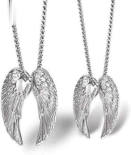 NC198 Par de par de alas de Plumas, Collar de Acero de Titanio, ala de ángel, Colgante para Hombres y Mujeres, joyería de Acero Inoxidable