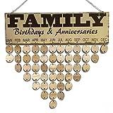 VORCOOL Partybrett, Geburtstag, Familie, Basteln, Kalender, Geburtstagskalender aus Holz mit 50 Runden Scheiben