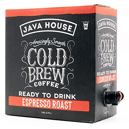 Java House Cold Brew Coffee On Tap, (1 Gallon / 128 Fluid Ounce Box) Not a Concentrate, No Sugar, Ready to Drink Liquid (Espresso Roast)