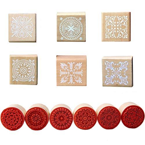 Sweieoni Holzstempel 12 Stück Quadratischen Stempeln Rund Stempel Vintage Verschiedenen Blumenmuster Stempel Ornamente Vintage Holzgriff Geformte Hölzerne Stempel für Stempel Ornamente DIY Handwerk