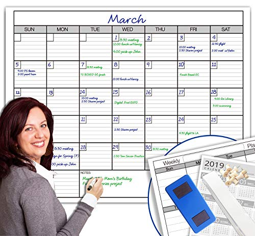 Dry Erase Monthly Large White Board Wall Calendar, 38' x 50', Jumbo Laminated Erasable Month whiteboard, Huge 30 Day Planner