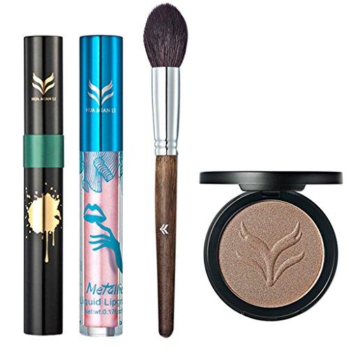 MagiDeal 4 en 1 Palette de Fond de Teint Highlight + Gloss à Lèvres Brillant + Mascara à Cils Curling Noir + Pinceau de Maquillage - Kit Outils de Maquillage