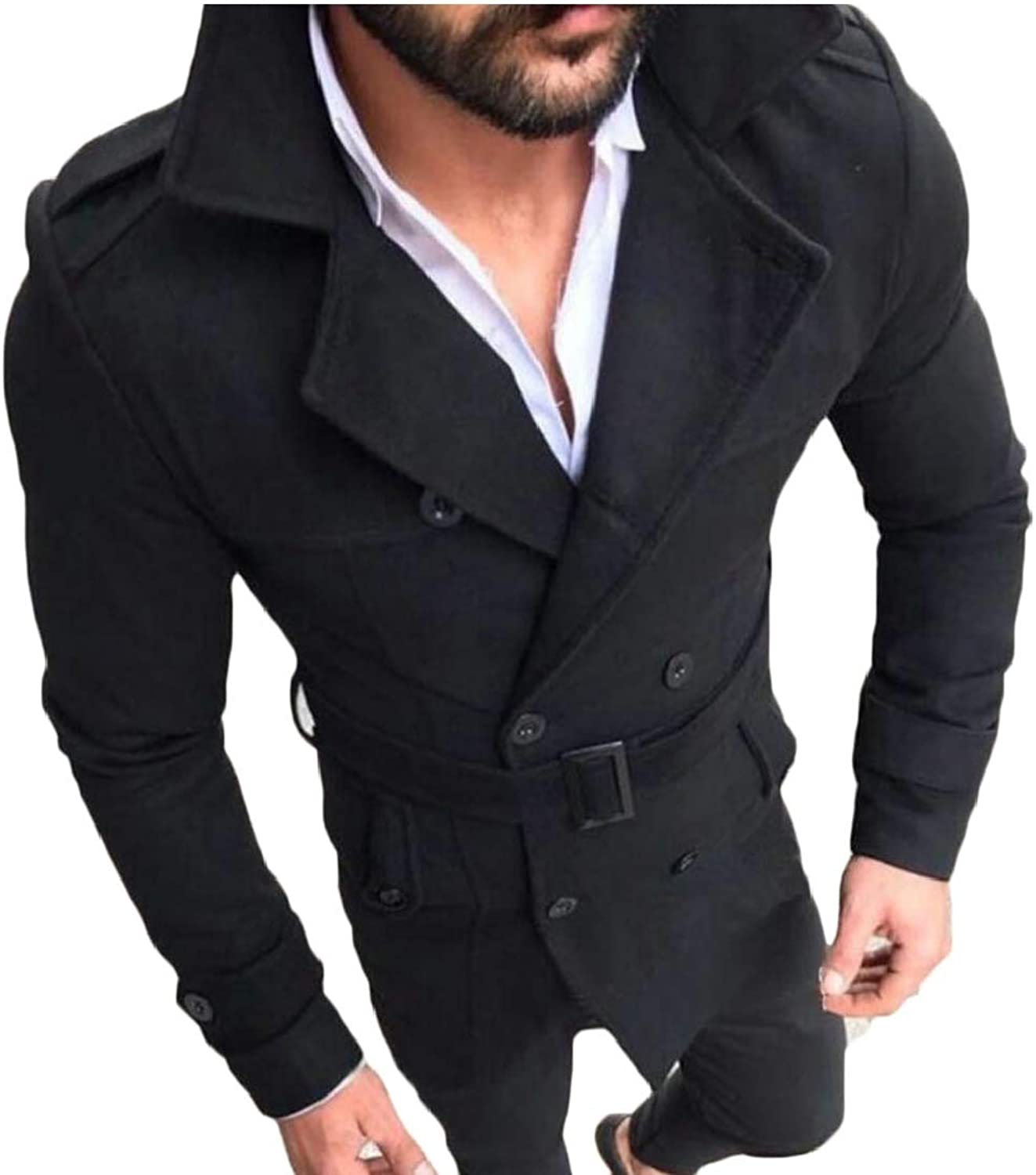 Alion Mens Classic Deep V-Neck Long-Sleeved Casual Loose Buttons Warm Suit Blazers Black M