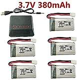 Fytoo 5PCS 3.7V 380mAh 25C Batterie au Lithium + 5en1 Chargeur pour E016H E016F Hubsan X4 H107 H107C H107L Syma X11 X11C HS170 HS170C F180C HS170G TOZO Q2020