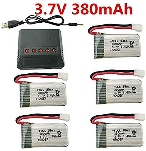 Fytoo 5PCS 3.7V 380mAh 25C Lipo Akku mit X5 Ladegeräte für Hubsan X4 H107,H107C,H107L RC Quadcopter,Syma X11 X11C,HS170 HS170C F180C HS170G TOZO Q2020 E016H E016F RC Quadcopter
