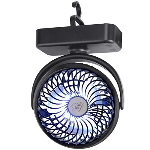 IREENUO Camping Fan, Portable Tent Fan with LED Lights, 5000mAh Rechargeable Battery Operated Fan with Hanging Hook for Tent Car Hurricane Emergency Kit