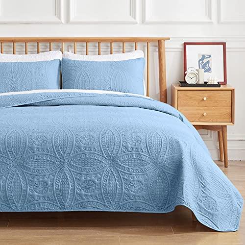 VEEYOO Bedspread Quilt Set Full/Queen Size - Soft Microfiber Lightweight Coverlet Quilt Set for All Season, Quilt Set 3 Piece (1 Quilt, 2 Pillow Shams), Baby Blue