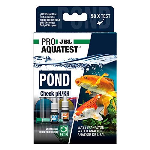 JBL Wassertest-Set, mit 50 Tests und Zubehör, Für Teich-, Leitungs- und Brunnenwasser, PROAQUATEST POND Check pH/KH