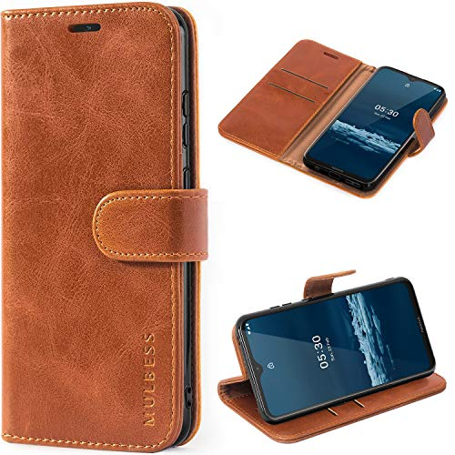 Mulbess Handyhülle für Nokia 5.3 Hülle Leder, Nokia 5.3 Handy Hüllen, Vintage Flip Handytasche Schutzhülle für Nokia 5.3 Case, Braun