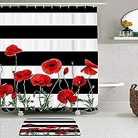 WOTAKA シャワーカーテン バスマット 2点セット 黒と白のストライプポピー赤い花の花 自家 寮用 ホテル 間仕切り 浴室 バスルーム 風呂カーテン 足ふきマット 遮光 防水 おしゃれ 12個リング付き