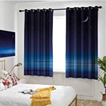 hengshu Night Wear-Resistant Color Curtain Moon and Stars Over Santa Barbara Channel Infinity Foggy Pacific Ocean 2 Panel Sets W84 x L96 Inch Dark Blue Sky Blue White