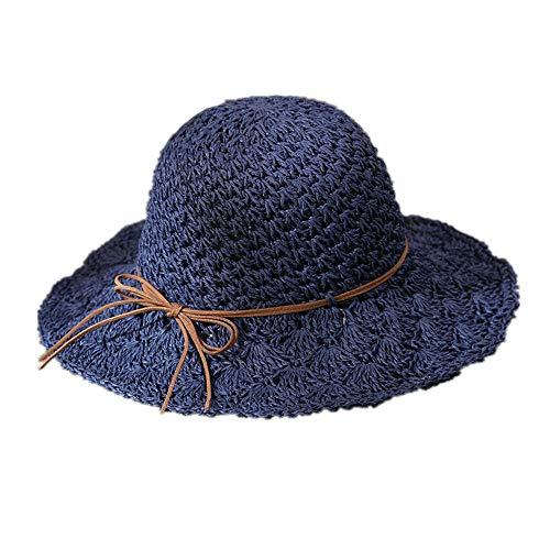 Artigianato Pieghevole con Protezione Solare Ombrellone E Maree di Cappello di Paglia M (56-58 Cm) Blu Navy Cappelli E Cappellini
