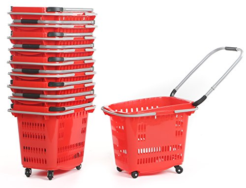 Advance Carts TB42-R Rolling Basket with 4 wheels, 40 L, Red
