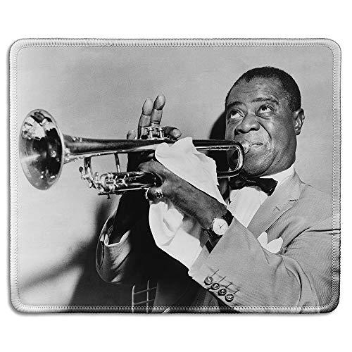 dealzEpic - Art Mousepad – Naturkautschuk Mauspad mit klassischem Foto von Louis Armstrong ikonischer Jazz Trompeter – genähte Kanten – 24,1 x 20,1 cm