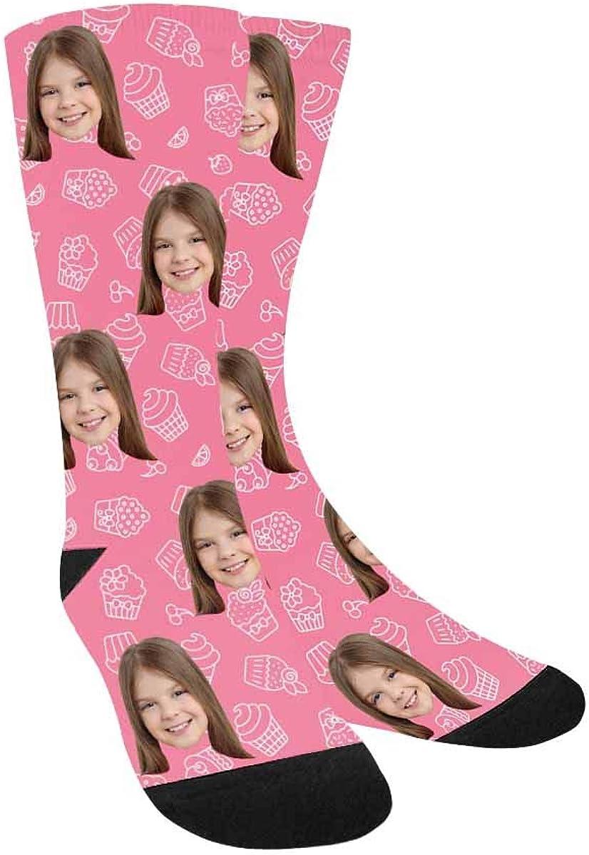 Custom Face Socks,Turn Your Photo Into Cupcakes Crew Socks Boys