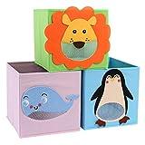CASATOCA Juego de 3 cajas de almacenamiento infantil, Cajas plegables con patrones de animales,...