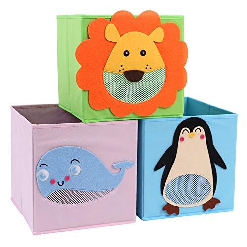 CASATOCA Juego de 3 cajas de almacenamiento infantil, Cajas plegables con patrones de animales, Organizadores de Juguetes, para sala de estar, habitación infantil, sala de juegos, guardería infantil