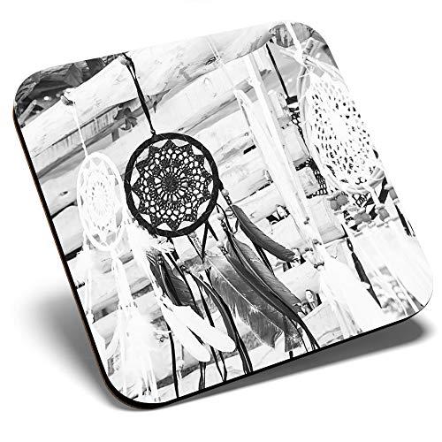 Gran posavasos cuadrado BW – atrapasueños tribal boho hippy | Posavasos de calidad brillante | protección de mesa para cualquier tipo de mesa #42818