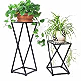 1 macetas Flower Pot Plant Rack Stand Indoor Metal Jardinera Decoración Display Holder Floor Support Stand Jardín Patio Standing Corner Shelf Simple Modern Home Outdoor Black (Tamaño : Pequeño)