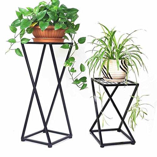 1 macetas Flower Pot Plant Rack Stand Indoor Metal Jardinera Decoración Display Holder Floor Support Stand Jardín Patio Standing Corner Shelf Simple Modern Home Outdoor Black (Tamaño : Pequeño