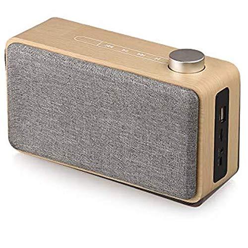 HBBOOI Bluetooth Lautsprecher, Radio Aus Walnussholz Mit Klassischem Stil, Tragbares Radio Starke Bassverstärkung, Laute Lautstärke, Bluetooth 4.2, AUX TF-Karte Und MP3-Player (Color : Gray)