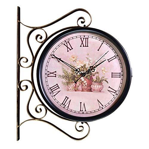 Reloj Reloj de Pared de Doble Cara Casa de Campo Sin tictac Funciona con Pilas Retro Europeo Hierro Forjado Negro Sala de Estar Dormitorio Comedor Decoración 3D