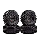 4PCS 2.2 Inch Rubber Tyres & Plastic Beadlock Wheel Rim for 1:10 RC