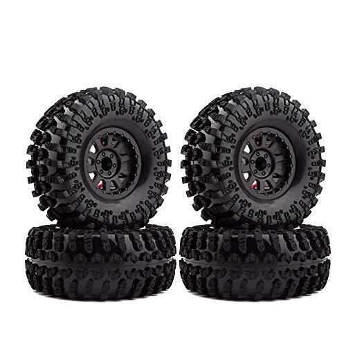 INJORA 4PCS 2.2 Inch Rubber Tyres & Plastic Beadlock Wheel Rim for 1:10 RC Rock Crawler Axial SCX10 RR10 Wraith Yeti RC Car