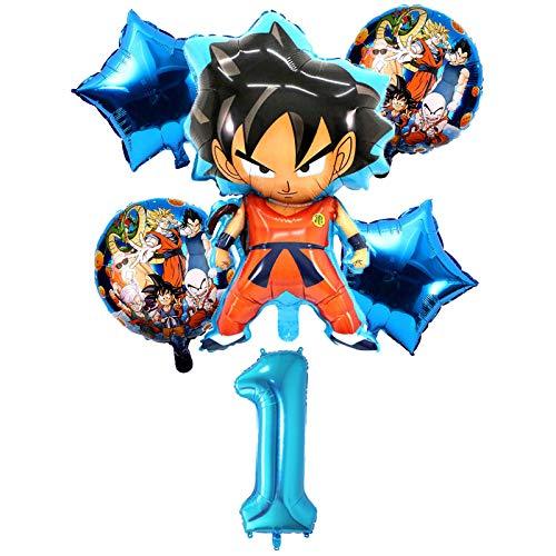 XIAOYAN Globos Nuevo Caliente 6 UNIDS / Set Son Goku Cartoon Saiyan Goku Foil Balloons Fiesta de cumpleaños Decoraciones Globo Helio Globos Fiesta de los niños DIY