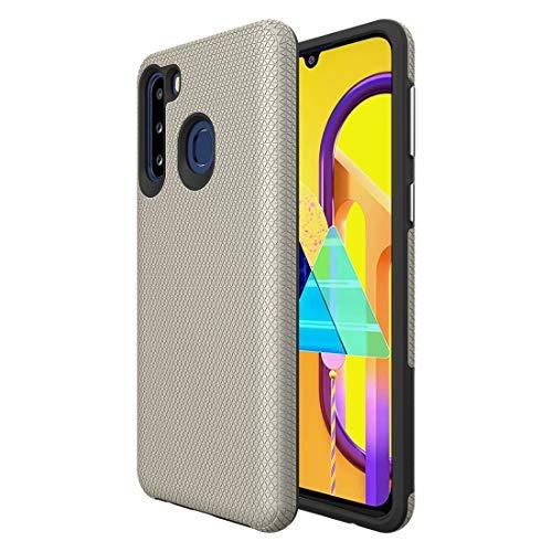 JIAHENG Caja del teléfono Xingchenfor Samsung Galaxy A21 (versión de la UE) Triangle Texture TPU + PC Funda Cubierta de Cuero (Color : Gold)
