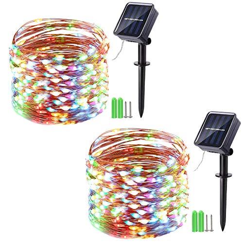 Geemoo 2 Stück Solar Lichterkette Außen, 15M 150 LED Solar Kupferdraht Lichterkette Bunt, 8 Modi Wasserdicht Solarlichterkette für Außen Garten, Balkon, Hochzeit, Terrasse, Party Deko